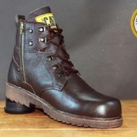 Jual Sepatu Boot Pria Caterpillar Resleting Safety Coklat Kulit Asli Murah