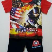 Setelan Anak Size 1-6 Captain America | Kaos Karakter Anak Laki Laki