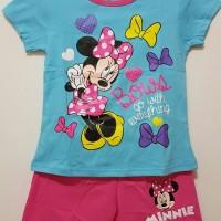 Setelan Anak Size 1-6 Minnie Biru | Kaos Anak Karakter Perempuan Disne