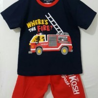 Setelan Anak Size 1-6 Oshkosh Fire Truck | Kaos Karakter Anak Laki Laki
