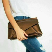 Clutch Zara Metallic Envelope Wristlet Party Bag Import Murah