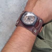 Jam tangan pria analog Gelang tali kulit coklat vintage total handmade