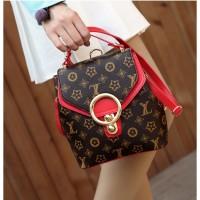 Tas Bag Pack Backpack Ransel Merah Wanita Pergi Kuliah Import Cantik