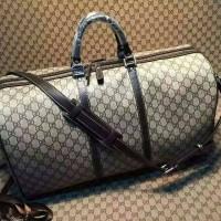 Gucci travel bag signature canvas 50cm. high quality. ori leather