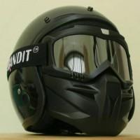 Jual Helm Clasic Retro Hitam Glosy at Dof + Google Mask Kacamata Masker Murah