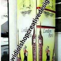 stiker kulkas 2 pintu depan kanan kiri motif london