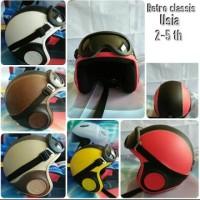 Helm Anak 2-5 Th Retro Kulit Kacamata Pororo Polos Berkualitas