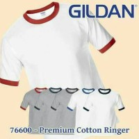 Jual Kaos Gildan Ringer premium cotton 76600 asli Murah polos import (S-XL) Murah