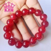 Jual Gelang Pria Wanita Batu Giok Asli Original Warna Merah Delima 12mm Murah