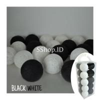 Jual Cotton Ball Light Black and White Lampu Hias Dekorasi Tumblr Lamp Murah