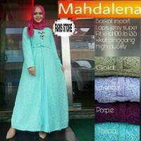 Long Dress Maxi Wanita Muslim Gaun pesta Polos Mahdalena gold ungu XL