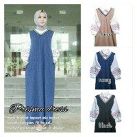 Long Dress Maxi Wanita Muslim Polos prisma Jumbo XXL biru hitam cream