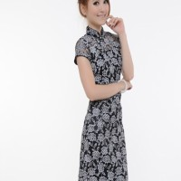 High Quality Lace Cheongsam Import TMC4169- Black Import