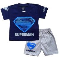 Setelan Baju Kaos Celana Anak Bayi Superhero Superman T-Shirt Tshirt
