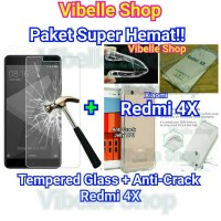 Jual [PAKET] Xiaomi Redmi 4X Softcase AntiCrack + Tempered Glass Redmi 4X 4 Murah