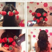 Jual Strawberry Roll Sponge Hair Curler Rambut Ikal Tanpa CA Limited Murah