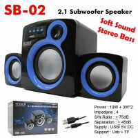 SPEAKER AKTIF Subwoofer STEREO 2.1 + USB SB-02 Termurah