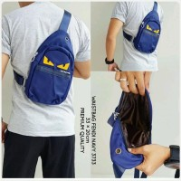 Waist Bag FENDI Monster Canvas Navy Premium kode 3733