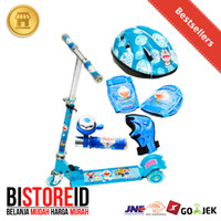 toko-fivty Skuter Otoped + Protector + helm Set Anak Karakter