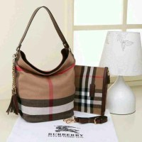 Tas Burberry Hobo Canvas 2in1 COKLAT TUA Semprem Sale 0381
