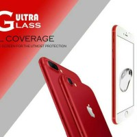 Tempered Glass Full Cover Red Iphone 7 / 7 + Plus Merah
