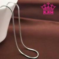 Jual Kalung Pria Wanita Titanium Ular Simple Silver Stainless Steel 316L Murah