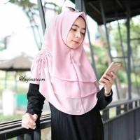 Jual khimar 3 layer serut+khimar+ceruty+Hijab+jilbab+kerudung+hijabmurah Murah