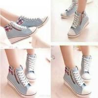 Jual Wedges Boots Gray G01 | SEPATU BOOTS WANITA | BOOTS GREY WEDGES Murah
