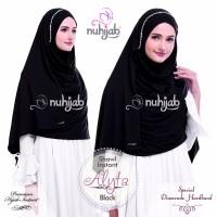 Jual hijab pesta instan syari formal black/hitam grey/abu abu alyta Nuhijab Murah