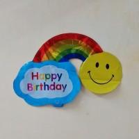 balon BIRTHDAY ( HBD Flower Polkadot Rainbow Princess Crown )