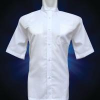 Jual Baju Koko Pria,  Lengan Pendek Putih Shirting  semi glossy Murah