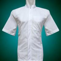 Jual Baju Koko Pria,  Lengan Pendek Putih Full Bordir Motif Circle arrow Murah