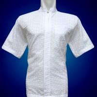Jual Baju Koko Tgn Pendek Putih Full Bordir Motif Tilde Murah