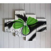 Hiasan Dinding Gambar Lukisan Abstrak Bunga Hijau FAFA90