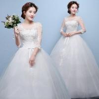 1704005 Putih Lengan Siku Gaun Pengantin Wedding Gown Dress