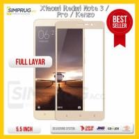 Jual Tempered Glass Warna Color Xiaomi Redmi Note 3 Pro / Kenzo Full Layar Murah