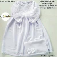 Gamis Putih Anak Brokat 5th