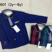 baju anak cowok import branded kemeja kotak navy blue tangan panjang