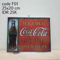 hiasan dinding F01 - walldecor shabbychic vintage Coca Cola