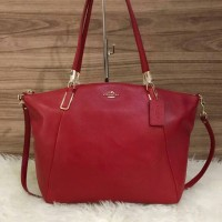 Coach Madison Small Kelsey Leather Satchel in Ruby Red