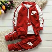 St kid fit nike merah.jaket+celana+inner. fit 3-5 tahun.anak laki