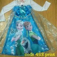 Diskon Baju Dress Kostum Frozen Gambar Elsa dan Anna Termurah