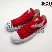 Sepatu Converse All Star Low White Red cowok/cewek warna merah putih