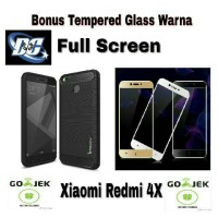 Jual Case Ipaky Carbon + Tempered Glass Warna Full Screen Xiaomi Redmi 4X Murah