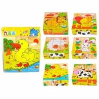 Puzzle Kubus 6in1 hewan ternak (bebek)