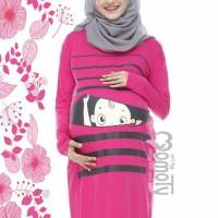 Baju Hamil Lucu | Momoty | Midi Dress BP1 Pink Fanta Panjang