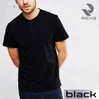 Jual Baju Kaos Pria Henley Lengan Pendek by RICKS (BEST SELLER) Murah