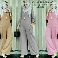 TST SET LAVENDA TERRY /setelan muslimah blouse XL + celana lebar kulot