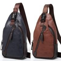 Tas punggung pria slingbag pria tas slempang kulit import PU shoulder