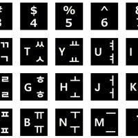 Sticker Keyboard Hangul Korea Background Hitam Font Putih Laptop 14""